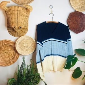 vintage 90s wool blend blue striped v neck sweater